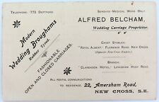 """SCARCE c1900 ENGLISH ADVERTISING CARD. """"ALFRED BELCHAM, WEDDING CARRIAGES""""."""