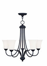 5-Light Ceiling Chandelier Ridgedale LIVEX Lighting Fixture Black Finish 6475-04