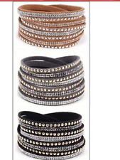 LADIES FAUX LEATHER CRYSTAL DIAMANTE WRAP AROUND BRACELET 4 Colours