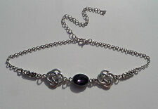 CHOKER NECKLACE DARK SILVER PLATE ROUND CELTIC KNOTS & FACETED PURPLE GLASS OVAL