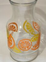 Rare VINTAGE ANCHOR HOCKING GLASS CARAFE RETRO 70s JUICE PITCHER ORANGES LEMONS