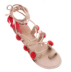 Mystique Women's Leather Nude Suede Tie Up Sandal Size 10