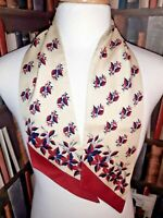 VINTAGE Head/Neck Scarf FLORAL Original 1950/60s RETRO MOD SCOOTER Cream/Red