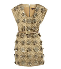 BNWT Mulberry Flower Grid Dress Hedgehog Bronze Double Faced Silk UK8 RRP: £3000