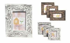 Flowers Shabby Chic Carved Wooden Photo Frame