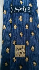 Hermes Paris silk twill tie monkey in tree blue made in France 7738 OA