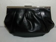 Banana Republic Black Pleated Leather Coin Purse or Makeup / Cosmetic Bag