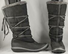 Women's Timberland Black Leather/Fabric Tall Winter Boots Faux Fur Lined 8 M