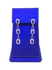 18K White Gold Amethyst Diamond Earrings