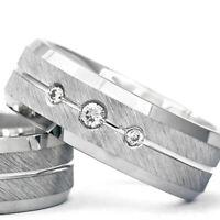 Silber 925 Trauringe Eheringe Verlobungsringe mit Gravur und Swarovski Stein A19