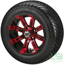 4 Golf Cart 205/30-14 Tire on a 14x7 Black/Red Casino Wheel