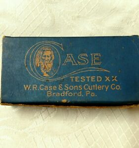 """ANTIQUE CASE & SONS TESTED XX """"EMPTY BLUE BOX ONLY"""" #92042 FOR POCKET KNIVES"""
