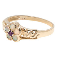 R137- Solid 9K Gold Natural Opal & Amethyst Blossom Flower Ring scroll size N