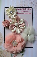 HANDMADE 5 Flower Mix PEACHES & CREAM Satin Lace Organza 25-70mm NjoyfullCrafts