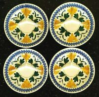 Antique Maastricht Societe Ceramique Holland 4 Hand Painted Divided Plate Set