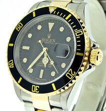 Rolex Submariner Mens 18k Gold & Steel Watch Black Date Sub No Holes SEL 16613T