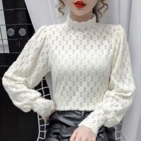 Lady Floral Lace Blouse Top Puff Sleeve Turtleneck Retro Casual Elegant T-Shirt