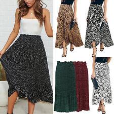 Womens Boho High Waist Swing Long Skirts Evening Party Cocktail Maxi Skirt Dress