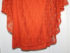 WOMENS KIM ROGERS PULL OVER LACE OVERLAY BLOUSE TOP SHIRT  - ORANGE - SZ  S -NWT