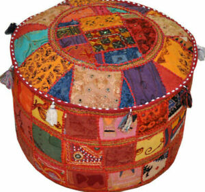 Indian Vintage Embroidered Ottoman Pouffe Cover Patchwork Round Floor Pouffe
