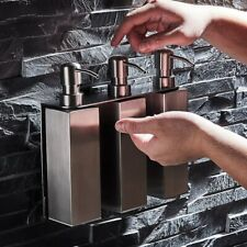 Stainless Steel Soap Dispenser Wall Mounted Shampoo Three Bottles Set Square
