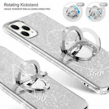 iPhone 11 Pro Case Glitter Luxury Diamond Rhinestone Ring Grip Thin Girly Silver