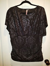 NEW Dress up/down black top blouse with ruched waist and vintage print - NWOT 2X