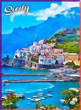 Sicily Italy Italian Europe Vintage Travel Wall Decor Art Poster Print