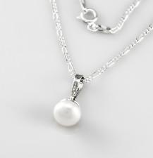 925 Sterling Silber Kette mit Perle, Anhänger Süßwasserperle
