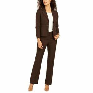 Women's Brown Le Suit Espresso 2 Button Heathered Pant Suit Set sz 8P