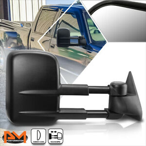 For 88-02 Chevy/GMC C/K 1500/2500/3500 Manual Extended Black Towing Mirror Right