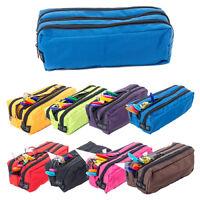 Pencil Case Rectangular Triple Pocket Zip Large Fabric School Make Up Organiser