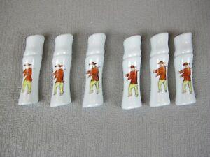 Good set of 6 x Oriental Asian Chopsticks / Knives Rests. Hand Painted Porcelain