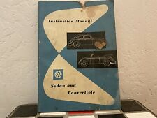 1956 Volkswagen Instruction Manual Sedan And Convertoble