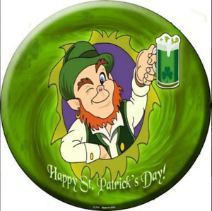 "Happy St Patrick's Day Metal Circle Sign 12"" Wall Decor - DS"