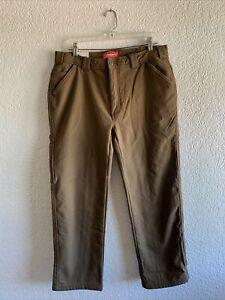 Coleman Mens Sz 34x30 Fleece Lined Tear Resistant Rugged Canvas Stretch Pants