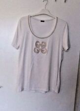 JOBIS Size EUR 42  UK 18 CREAM STRETCH TOP with GOLD TRIM & DESIGN ON FRONT