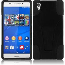 For Sony Xperia Z3v Verizon Version T-Stand Hybrid Cover Case - Black+Black