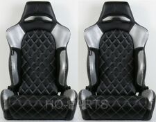 2 X TANAKA BLACK & SILVER PVC LEATHER RACING SEATS DIAMOND STITCH FITS VW