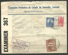 More details for colombia. 1943. ww2. censored air mail cover. bucaramanga. mancomun cachet.