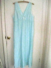 Vintage, Lorraine, Textured, Blue, Nylon, Nightgown, Size Large, Made America,b1