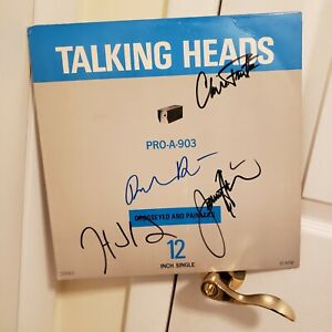 Talking Heads signed Promo lp **Crossed and Painless **4 members **David Bryne *