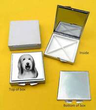 Bearded Collie Dog Polished Metal Square Pill Box Gift