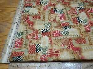 """R KAUFMAN AFRICAN INSPIRED COLORFUL DESIGN HORIZONS COTTON FABRIC BY 1/2 YD 44""""W"""