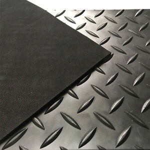 CHECKER - PLATE RUBBER GARAGE FLOORING MATTING 1.3M WIDE X 3MM THICK - A GRADE