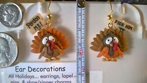Thanksgiving Turkey dangle hook Earrings Choice 3 color styles Ear Decorations