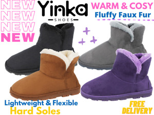 Ladies Yinka Shoes Faux Suede Fur Lined Trim Lightweight Bootie Slipper Boots UK