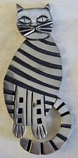 Rare Vintage Sterling Silver Striped Cat Pin Brooch 19.9 grams