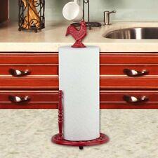 Cast Iron Rooster Red Napkin Holder Vertical Standing Paper Towel Roll Dispenser