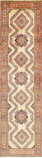 "One-of-a-king Geometric IVORY 10 ft Runner Kazak Oriental Wool Rug 9' 7"" x 2' 9"""